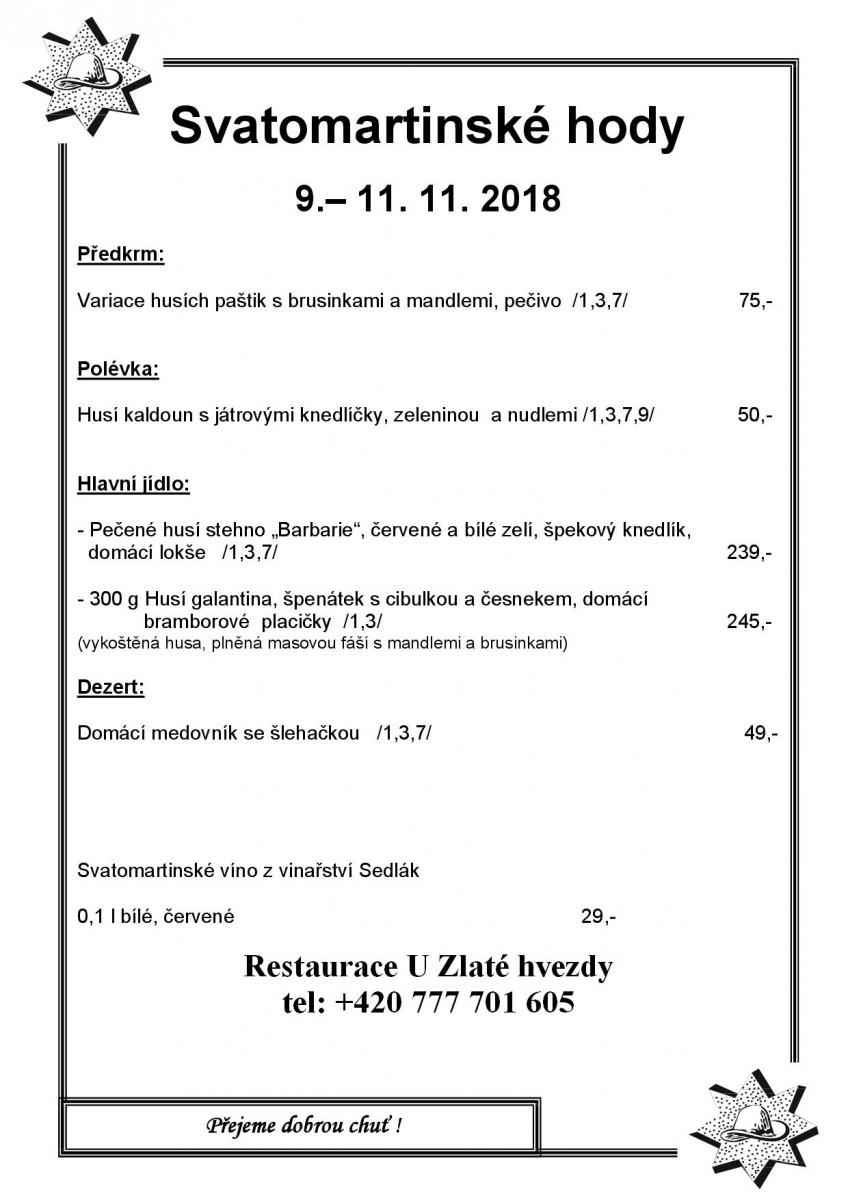 Svatomartinské menu 9.-11.11.2018 Hvezda