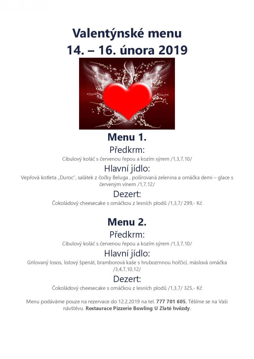 Valentýnské menu Restaurace U zlaté hvězdy