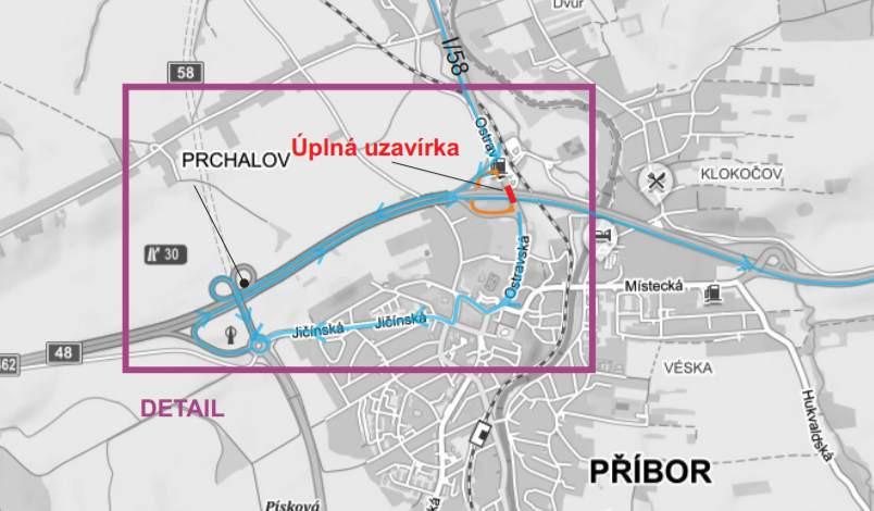 Oznámení o úplné uzavírce silnice I/58 ul. Ostravské v místě mostu ev. č. 48-027