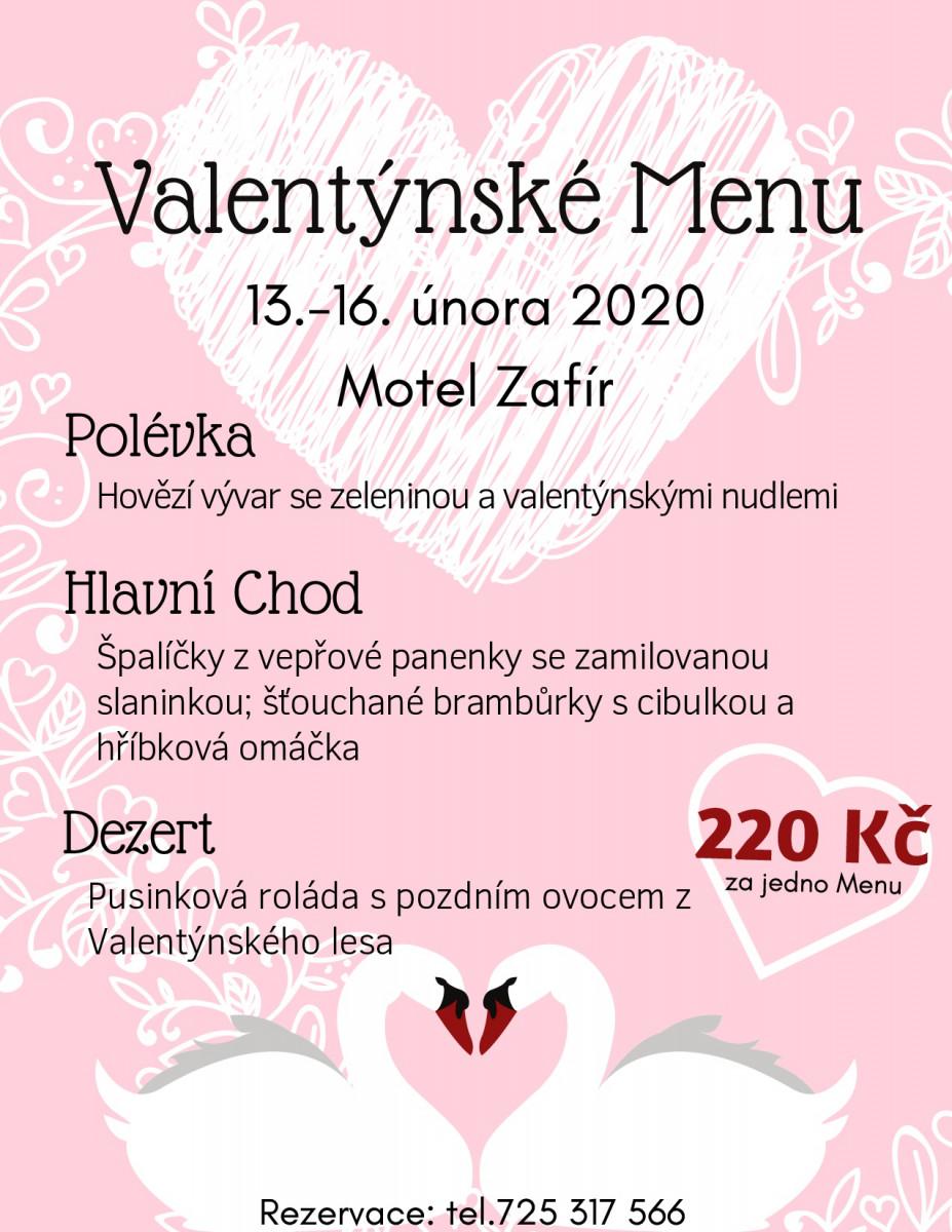 Valentýnské Menu MOTEL Zafír