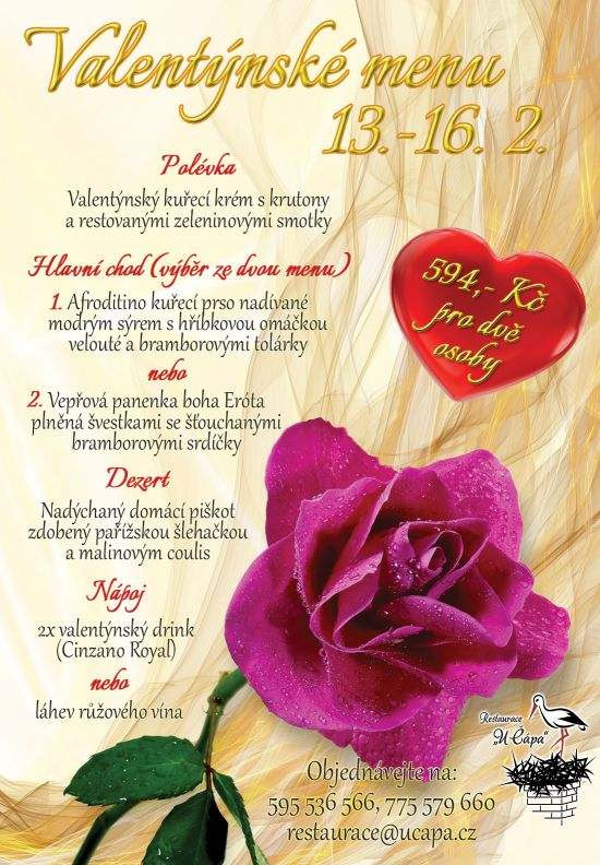 Valentýnské menu Restaurace U Čápa