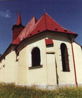 Kdysi dřevěný kostel sv. Kříže při pohledu z ulice K. H. Máchy.